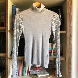 Anne Fontaine // Turtleneck Top with Lace Sleeves